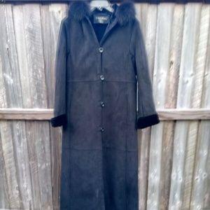 1 Madison Black Suede Faux Fur Trim Hood Jacket